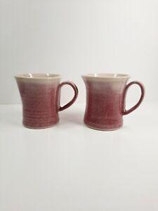 Studio Pottery Mugs Cups Pink Ecru Signed TS Makers Mark Vintage Original