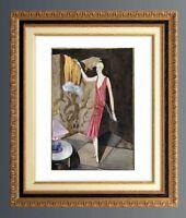 SUPERBE GOUACHE EPOQUE ART DECO 1925 DANS LE GOUT DE GEORGES BARBIER (2)