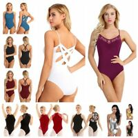 Women Ballet Dance Bodysuit Leotard Front Cross Jumpsuit Stage Mesh Dancewear