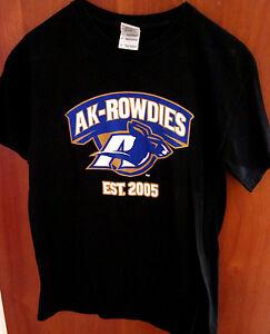 UNIVERSITY AKRON Zips small T shirt AK Rowdies logo OHIO football MAC tee
