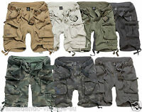 BRANDIT SAVAGE DELUXE CARGO SHORTS VINTAGE MENS ARMY STYLE WITH REMOVABLE BELT