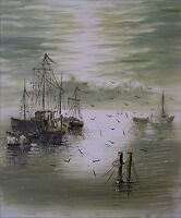 Stretched Hand Painted Oil Painting Impression Fishing Boats 20x24in