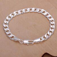 """Men's Women's Silver plated 925  Link Chain Bracelet 8 mm Cuban Lobster 8""""  A1"""