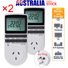 2Pcs Digital Electronic Power Timer Switch Socket With Clock AU Plug LED Display