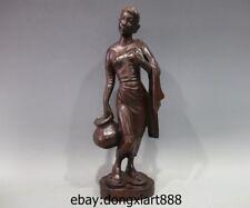 17 China Redwood Handwork Young Women Girl belle fetch water Art Deco sculpture