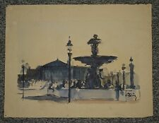 Paris place de la Concorde, aquarelle de Christian Frain 1950