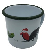 Set Of 6x 8cm Enamel Cup Mug Chicken Camping Coffee Colored White Vintage Style