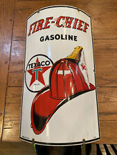 Texaco Fire Chief Porcelain Curved Sign 1941