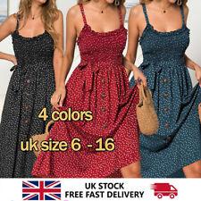 UK Women Summer Sleeveless Polka Dot Beach Dress Ladies Swing Holiday Sundress