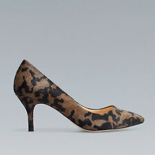Zara Camo Camouflage Pony Hair Court Shoe Pumps Kitten Heels Size 37