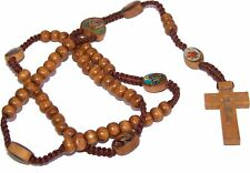 Tan Wooden Beads Rosary with Enamelled icons beads with Jesus Imprint Cross