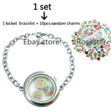 Magnetic Closure Living Memory Plain Round Locket Bracelet+10 Floating Charms