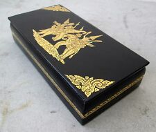 "NiCe! Handmade Gold Leaf Lacquerware Box Royal War Elephant Design 8""X4"""