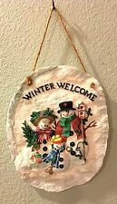 Christmas Winter Welcome Plaque Frosty And Family