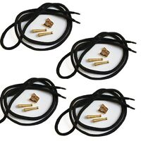 Blank Bolo Tie Kit Round Slide Smooth Tips Black Cord DIY Goldtone for 4 ties