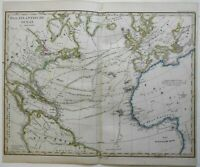 Atlantic Ocean Shipping Lanes Caribbean United States 1859 Stieler detailed map