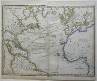 Atlantic Ocean Shipping Lanes Caribbean United States 1859 Stieler detailed map