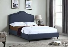 DK BLUE Fabric Cloth QUEEN Scalloped Platform Bed Frame Slats Home Bedroom NEW