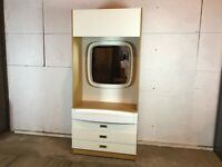 Vintage 1960's Wood and White Tall Dressing Table Drawers with Mirror
