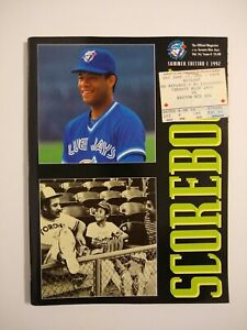 Scorebook The Official Magazine of the Toronto Blue Jays 1992 Includes Ticket