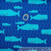BonEful Fabric FQ Cotton Quilt Blue Water WHALE Fish White Bubble Beach Sea Boy