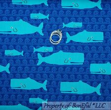 BonEful Fabric Cotton Quilt Blue Water WHALE Fish White Bubble Beach Boy L SCRAP