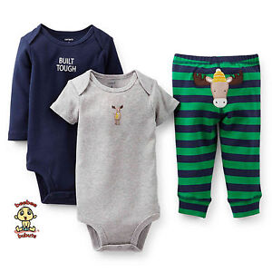 Carter's 3-piece Turn Me Around Set Moose Navy Blue 3 mos Authentic & Brand New