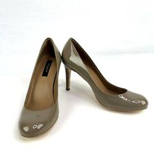 Ann Taylor Womens Size 7M Beige Tan Patent Leather Classic High Heels Round Toe