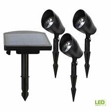 Solar Powered Black Outdoor Integrated LED 3000K Warm White Landscape Spot Li...