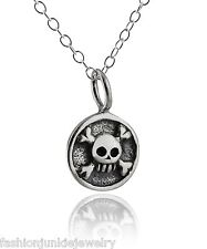 Tiny Pirate Skull Necklace - 925 Sterling Silver - 3D Charm Crossbones Tag NEW