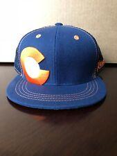 Aksels Colorado Big C Mesh Full Flex Snapback Hat - NEW - Navy Blue and Orange
