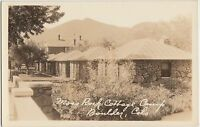 Colorado Co Real Photo RPPC Postcard c1920s BOULDER Moss Rock Cottage Camp