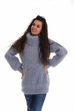 Light Gray Hand Made Knitted Mohair SWEATER Reglan Ribbed Pullover by SSEu