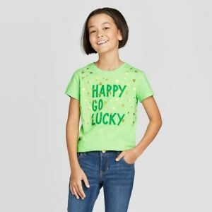 Cat & Jack Girls Green St. Patrick's Day 'Happy Go Lucky' Graphic T-Shirt 6-6X S