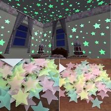 100 Pièces 3D étoile brille dans le Noir Lumineux plafonnier Autocollant Mural