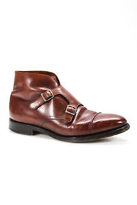John Lobb Mens Leather Silver Toned Buckle William II Boots Brown Size 8
