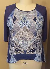 APT 9 WOMAN PLUS SIZE (1X) BLUE SLEEVED AND FLORAL PRINT SHIRT