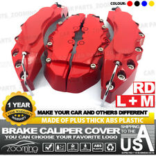 "4x Brake Caliper Covers Universal Car Style Disc Red Front Rear Kits 10.5"" LW04"