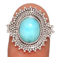 Genuine Larimar - Dominican Republic 925 Silver Ring Jewelry s.6.5 BR8128  XGB