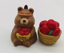 Hallmark Merry Miniatures 1989 Bear Boy with Apples W/ Seal Thanksgiving Decor