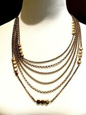 NWT LUCKY BRAND BROWN CORD 6 STRAND GOLD-TONE CHAIN BEAD BOHO BIB NECKLACE
