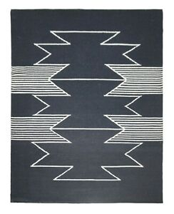 5'6 x 8' Rug   Hand Dhurrie (Punja Weave )  Black White Wool Area Rug