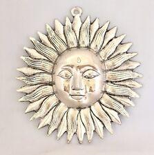 Large Sun Face Ornament Sun Mask Plaque wall hanging Buddha Garden Silver