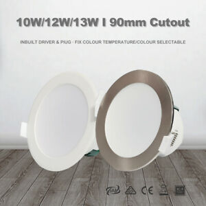 10W/12W/13W LED Downlight Kit CCT 90mm Cutout Dim/Non Dim Satin Chrome/White RCM