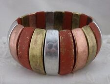 Stretch Bracelet Orange Silver Copper Gold Fashion Jewelry NEW Distressed Look