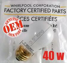 OEM Whirlpool 40 Watt Appliance Light Bulb for Refrigerators Freezers Ovens