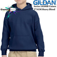 Gildan Navy Hoodie Heavy Blend Basic Hooded Sweater Boy Girl Youth Kids