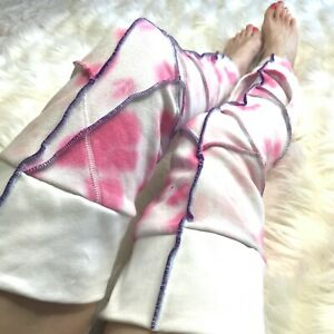 Pink Fleece Leg Warmers Tie Dye Zombie Knee Socks Warm Thigh Highs Mummy Purple