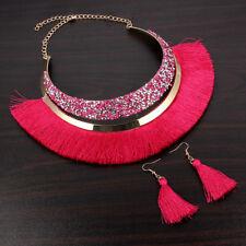 1Set Bohemia Style Tassel Choker Collar Necklace/Dangle Earrings Women Jewelry