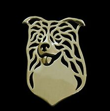 Border Collie (Head) Brooch or Pin -Fashion Jewellery Gold Plated, Stud Back